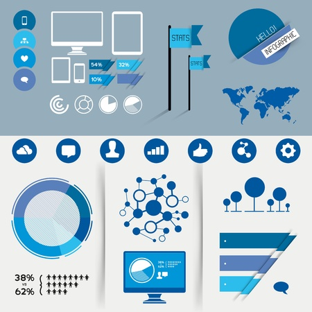 A collection of vector infographic design elements. Vector