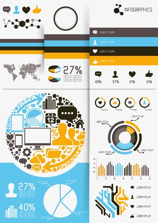 Infographics vectors, charts and infomation elements Stock Vector - 21817018