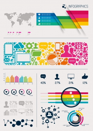 Infographics vectors, charts and infomation elements Vector