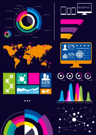 stat: A collection of vector infographic design elements.