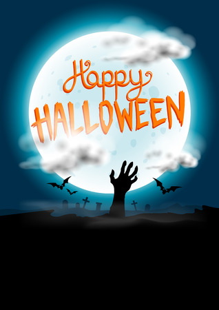 ornage: Happy Halloween Background vector with spooky elements  Illustration