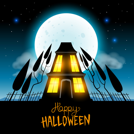Halloween Haunted House vector illustration  Vector