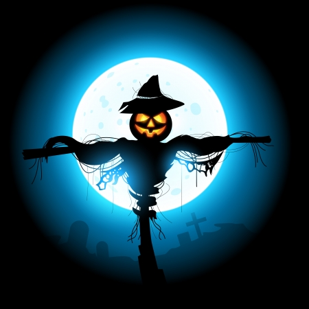 autumn scarecrow: A halloween Scarecrow silhouetted by the moon