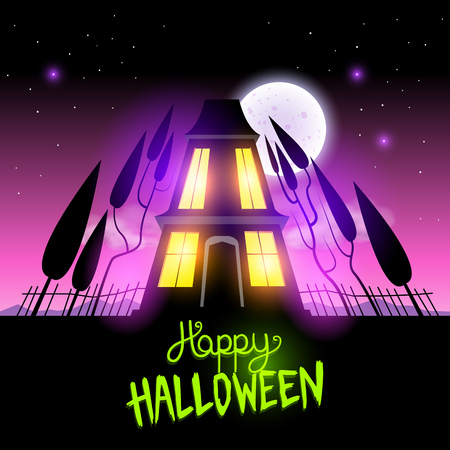 Haunted Halloween House themed vector illustration Vector