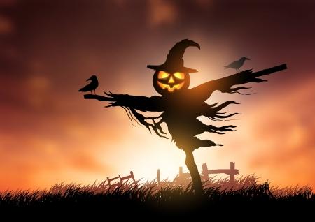 espantapajaros: Un espantapájaros de Halloween con una cabeza Linterna de Halloween Vectores