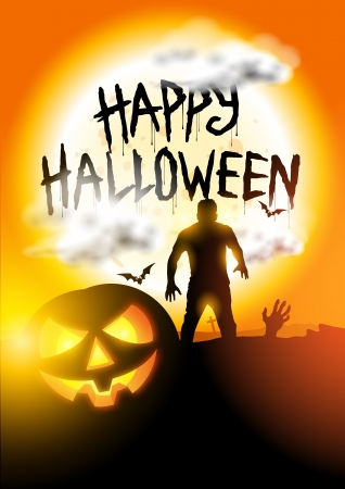 Happy Halloween Background vector with spooky elements  Vector