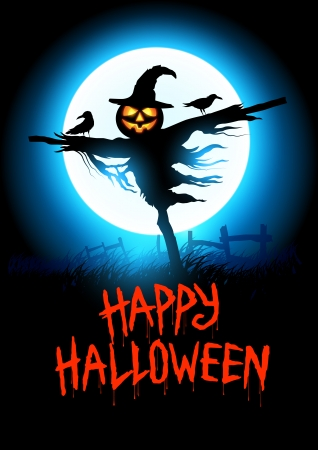 Halloween Scarecrow with happy halloween message  Vector