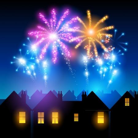 noche: Fuegos artificiales iluminando el cielo detrás de las casas de ciudad Vectores