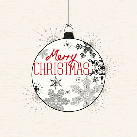 decembe: Merry Christmas Bauble background vector illustration
