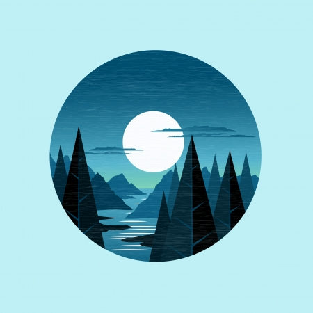 moutain: MoonLight Mountains. The moon lighting up a moutain landscape. Vector Illustration. Illustration