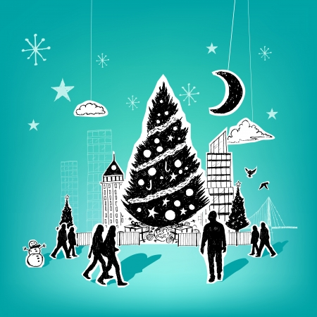 Paper City Christmas - Christmas themed hand drawn christmas vector elements. Stock Vector - 22787361