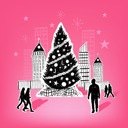 Paper City Christmas - Christmas themed hand drawn christmas vector elements. Stock Vector - 22787362