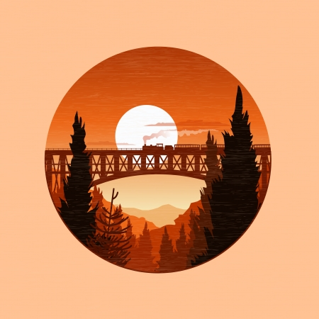 A steam train on a railway bridge. Landscape vector illustration. Vector