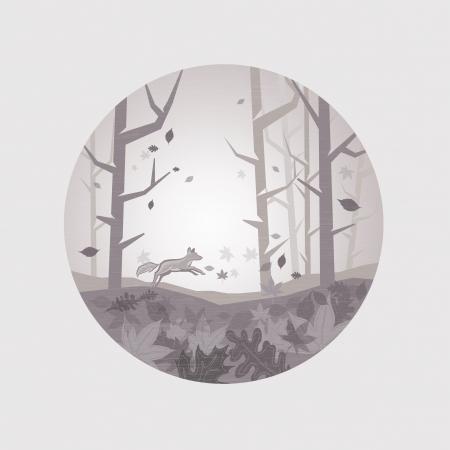 silver fox: Limpie esc�nico del oto�o - hojas que caen del �rbol y un salto de zorro. Ilustraci�n del vector.