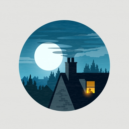 in midnight: Urban Midnight Owl  - house Rooftops and the moon, vecot illustration. Illustration
