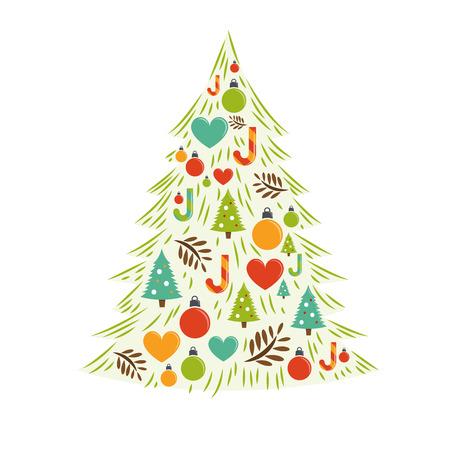comfy: Christmas Tree Card Vector. Vector illustration Illustration