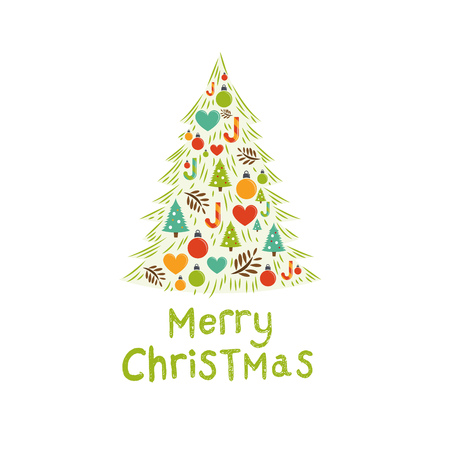 modern christmas baubles: Christmas Tree Card Vector. Vector illustration Illustration