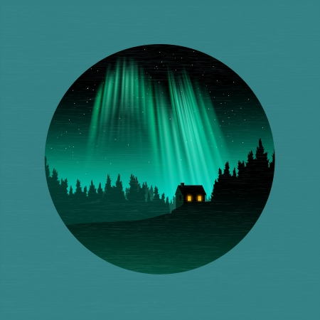 A forest and house silhouetted by the Northern Lights. Vector Illustraion. Vector