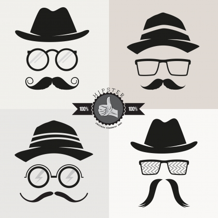 gentleman: Hipster Glasses, Hats & Mustaches - vector illustration.