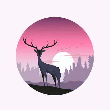 Pink Winter Sunset A deer silhouetted agains a winter landscape - vector illustration. Vector