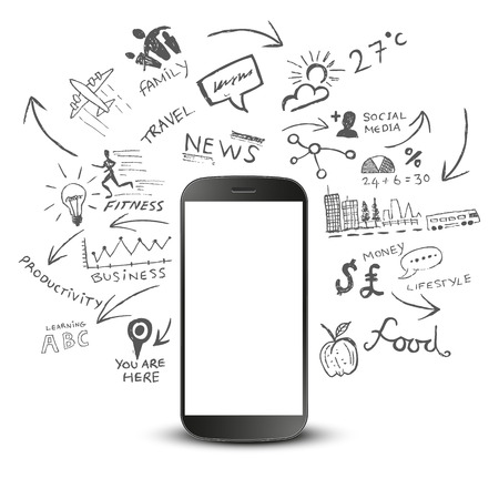 organised: Mobile Productivity. Modern mobile device with communication doodles.