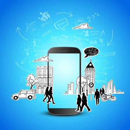 productividad: Productividad m�vil dispositivo m�vil moderno con garabatos de comunicaci�n