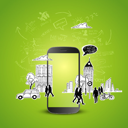 Mobile Productivity. Modern mobile device with communication doodles. Vector