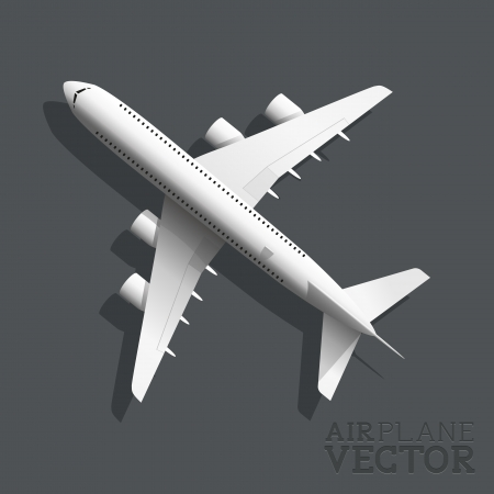 view from the plane: A vector airplane top view  Vector illustration  Illustration