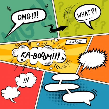 Comic Speech Bubbles. Layered vector illustration. Ilustração