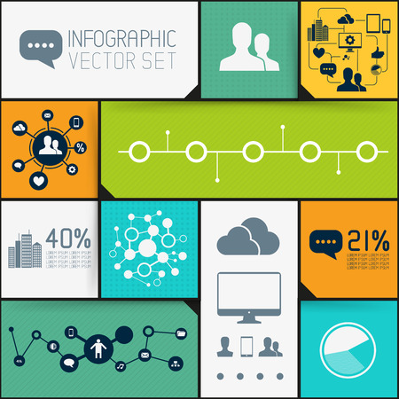 Infographic Background Set, interface tiles with infographic elements  Stock Vector - 23083580