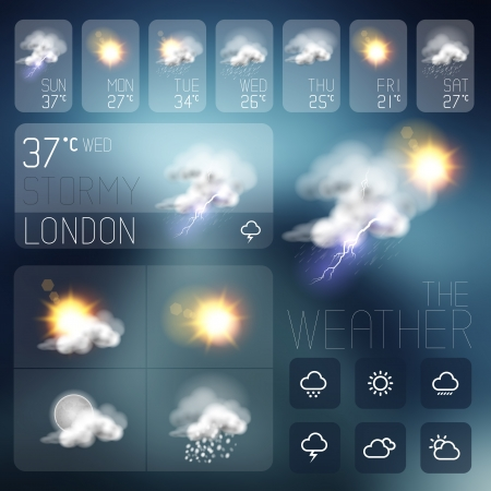 Modern Weather symbols and Interface design. Vector illustration. Çizim