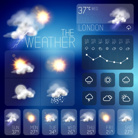widget: Modern Weather symbols and Interface design  Vector illustration