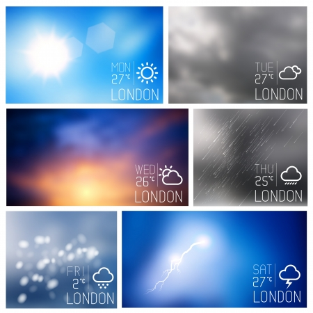 weather report: Weather intereface boxes, vector illustration