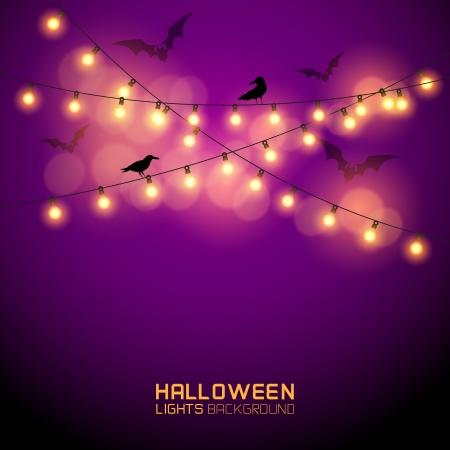 lumieres: Rougeoyantes chaudes lumi�res de Halloween. Vector illustration