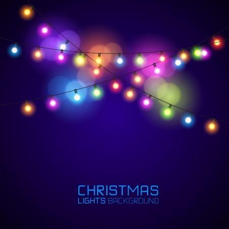luces navidad: Coloridas luces de navidad que brilla intensamente. Ilustraci�n vectorial