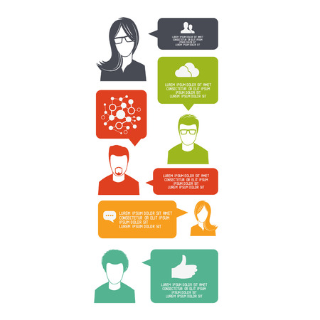resoudre probleme: Conversations d'�quipe - un groupe de personnes de communiquer pour r�soudre un probl�me. Illustration