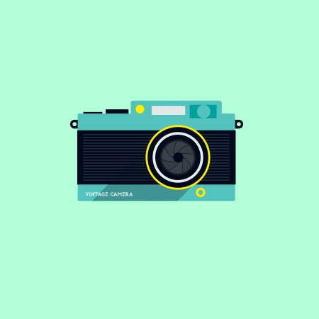 technolgy: Flat Vintage Camera Icon - Vector illustration. Illustration