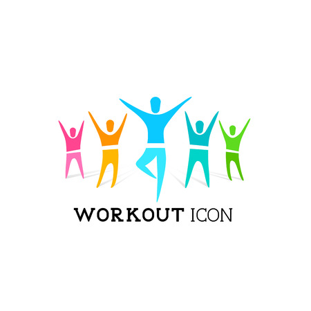 sports symbols: A group of healthy people. Vector icon illustration