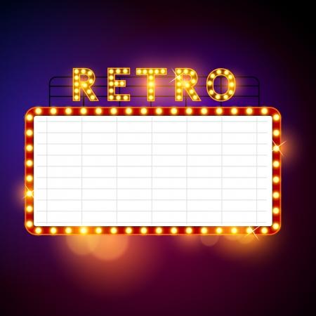 blue light: Retro Billboard waiting for your message  Vector illustration