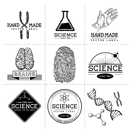 human chromosomes: Vintage Science Labels - Layered, hand crafted vintage vector labels and badges