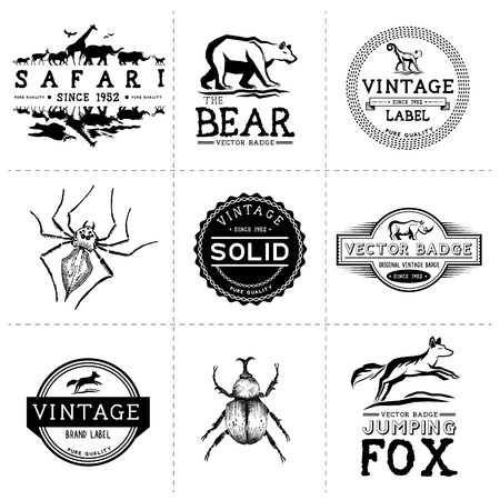 Vintage Animal Labels - Layered, hand crafted vintage vector labels and badges Illustration