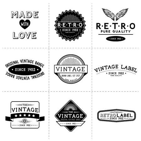 crafted: Vintage Vector Labels - Layered, hand crafted vintage vector labels and badges Illustration