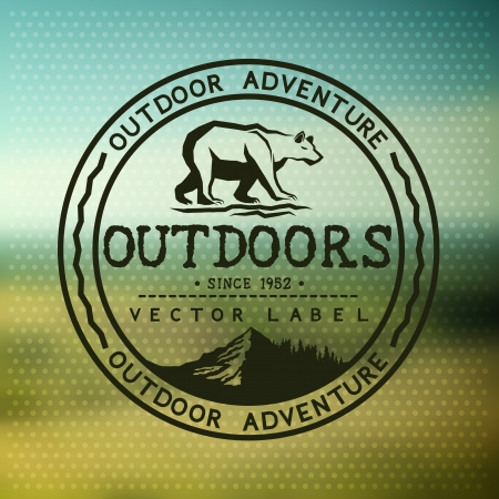 outdoor: Outdoors Adventure Badge with blurred background  Vector illustration