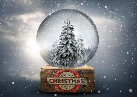 christmas snow globe: A vintage christmas snow globe with white christmas trees. Stock Photo