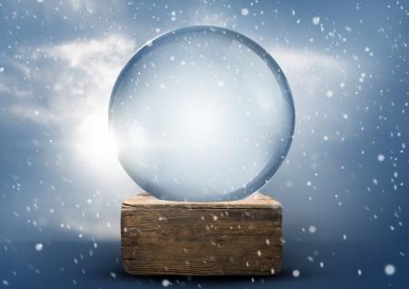 christmas snow globe: A vintage empty christmas snow globe.