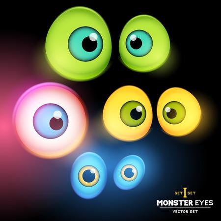 dark eyes: A collection of monster eye sets illustration  Illustration