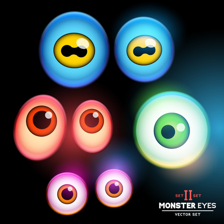 glow in the dark: A collection of monster eye sets  Set 2 illustration  Illustration