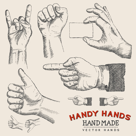 finger pointing: Handy Hands - Hands Set - illustration