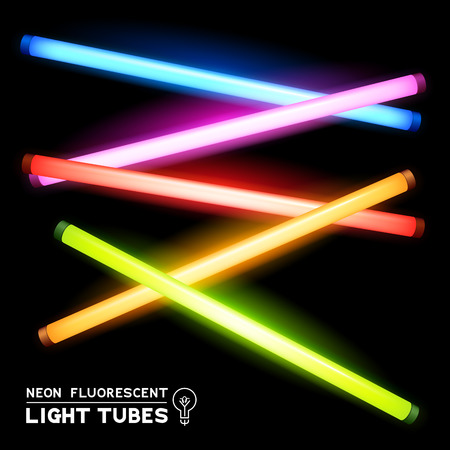 fluorescent lights: Neon Fluorescent Light Tubes - light strips Illustration