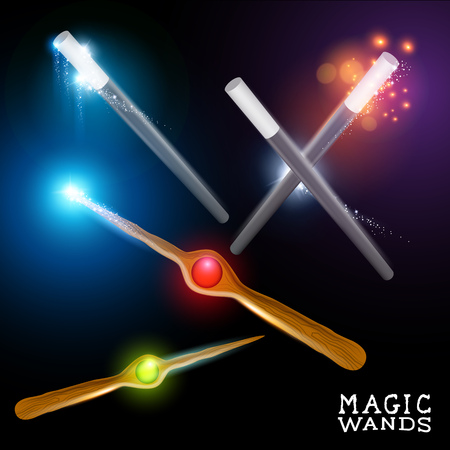 glow stick: Wizard and magician wands set, illustration Illustration